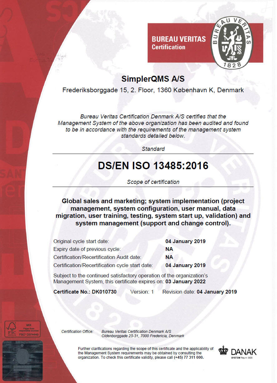 SimplerQMS ISO 13485:2016 Certification