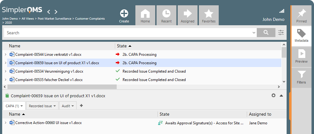 SimplerQMS Complaint Management Software