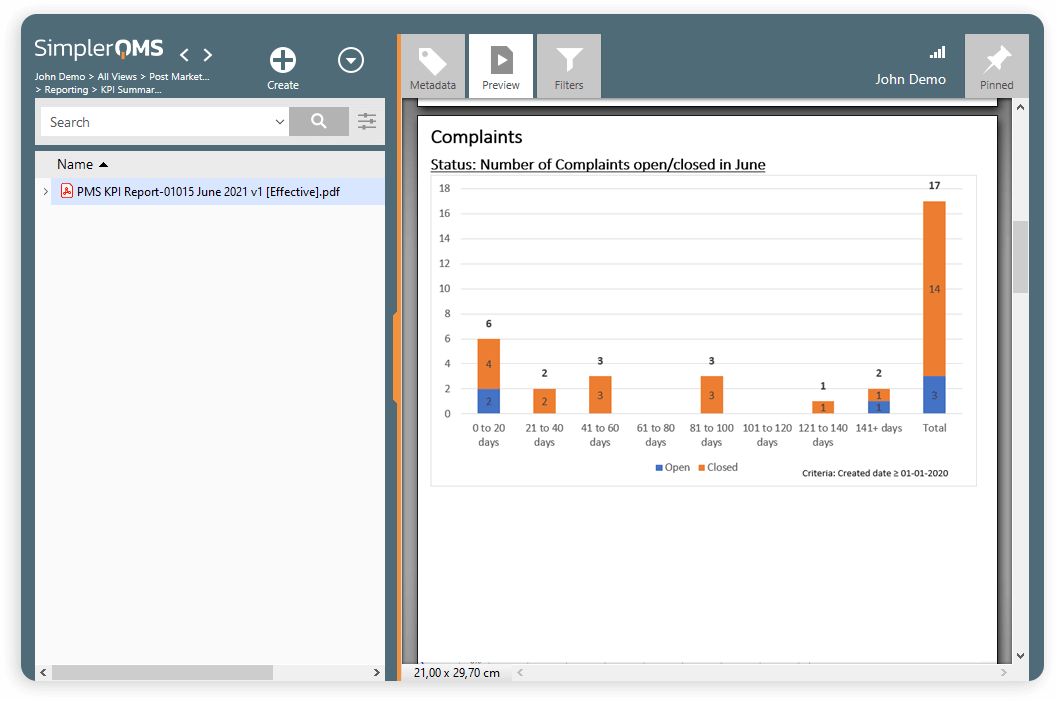 SimplerQMS Complaint Management Software Interface