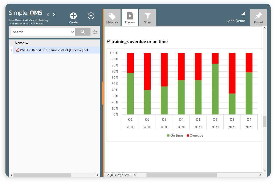 SimplerQMS Training Management Software Interface